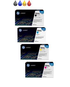 HP 504A Toner Set of 4 CE250A CE251A CE252A CE253A BCYM for HP Color LaserJet CP3525, CM3530